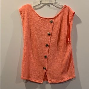 3 for $15 Coral blouse w buttons in the back